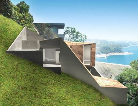 homes built into hillside low water landscape design ideas
