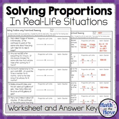 Proportion Problems Worksheet