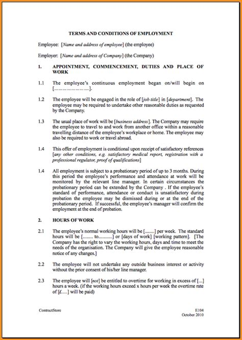 work agreement contract template 13 general employment agreement invoice template