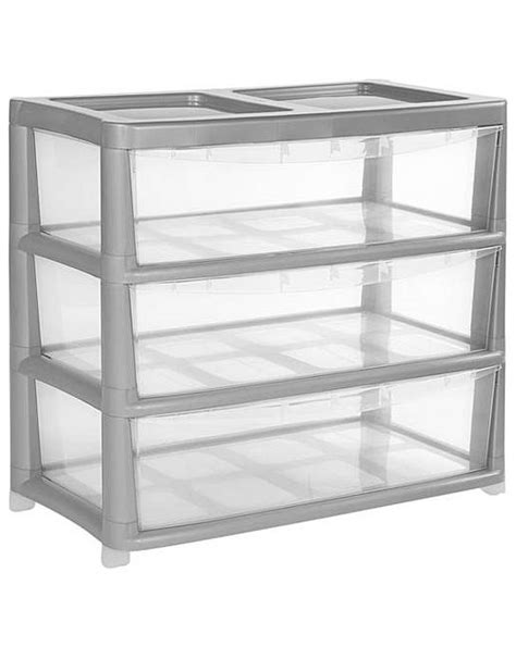 wide storage drawers plastic 3 drawer gloss plastic wide unit silver j d williams