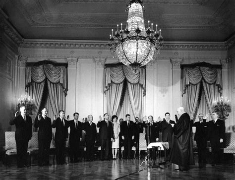 f kennedy cabinet ar6287 e sworn in cabinet members pose with president