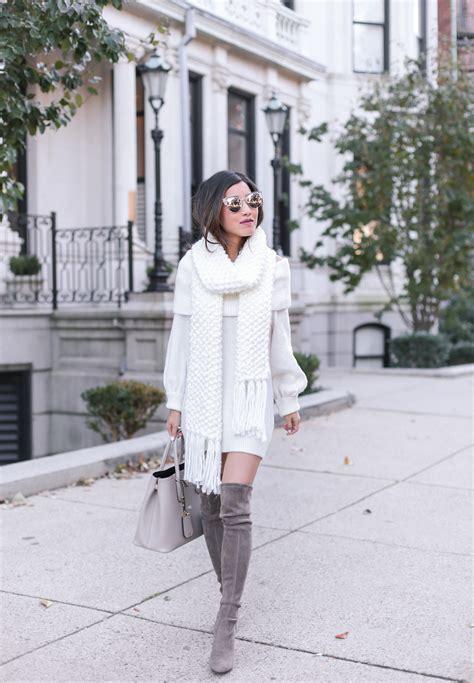 cream sweater dress chunky knit scarf