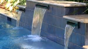 Waterfall Glass Tile rectangle swimming pool with water features video aqua