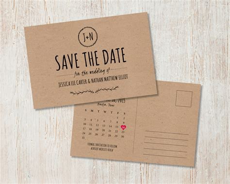 free wedding save the date postcard templates rustic wedding save the date kraft save the date rustic