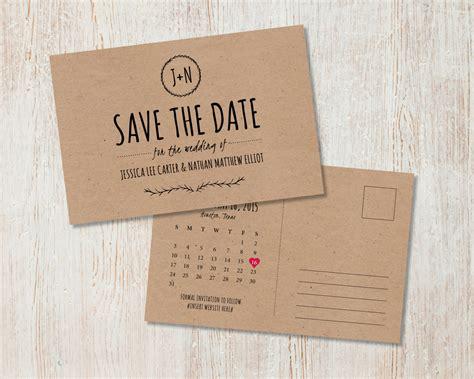 diy printable postcards rustic wedding save the date kraft save the date rustic