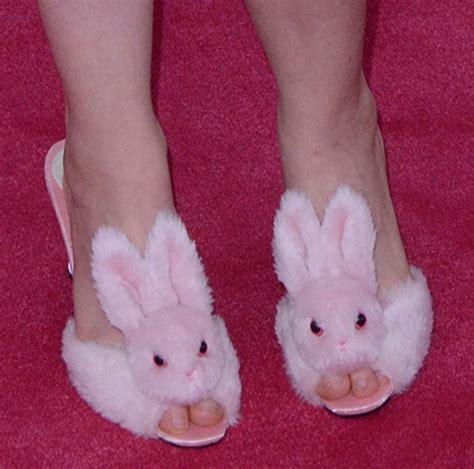 next bunny slippers lena dunham wears streetzie s high heel bunny slippers