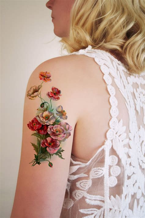 flower tattoo etsy large vintage floral temporary tattoo flower by tattoorary