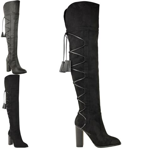 thigh high boots lace up back womens knee thigh high boots block heel