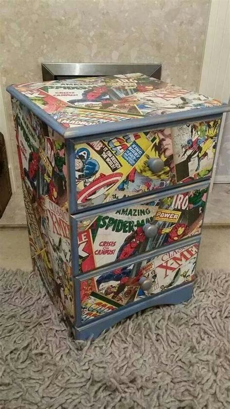 marvel decoupage chest of drawers crafting