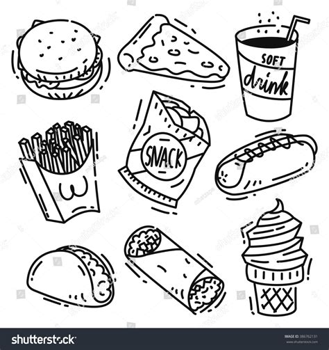 doodle free vs premium royalty free set of junk food icon doodle isolated