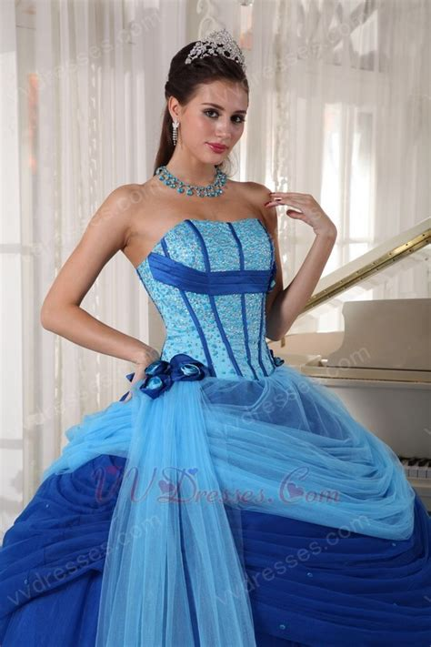 blue puffy prom dress sky blue and dark blue puffy skirt quinceanera prom dress