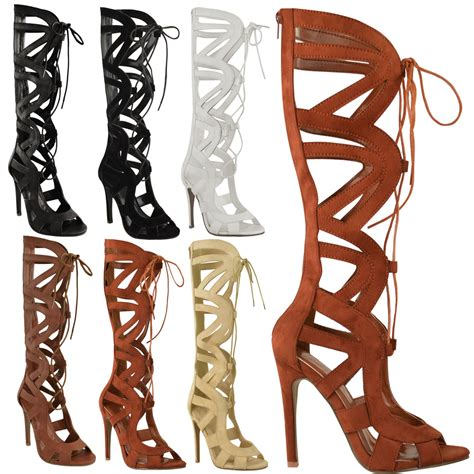 womens knee high lace up cut out shoes heels