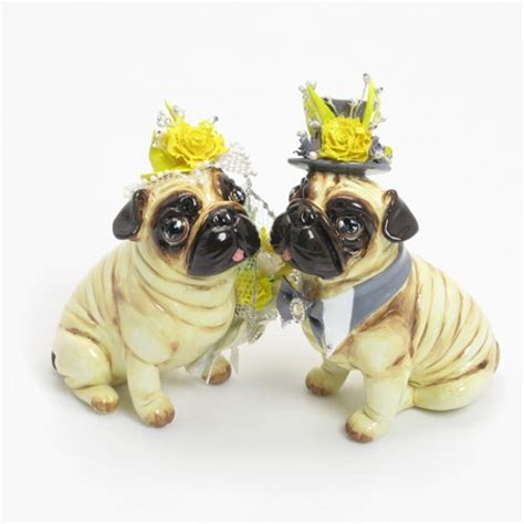 pug wedding cake pug wedding cake topper yellow grey color theme handmade figurine madamepomm on artfire