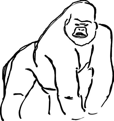 gorilla outline coloring page gorilla sketch clip art at clker com vector clip art