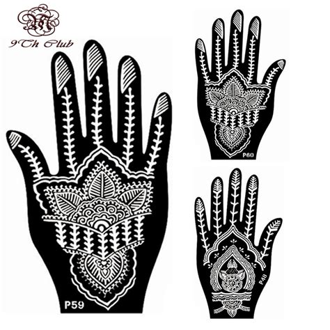 henna tattoo hand stencils aliexpress buy 2 pair indian henna stencil
