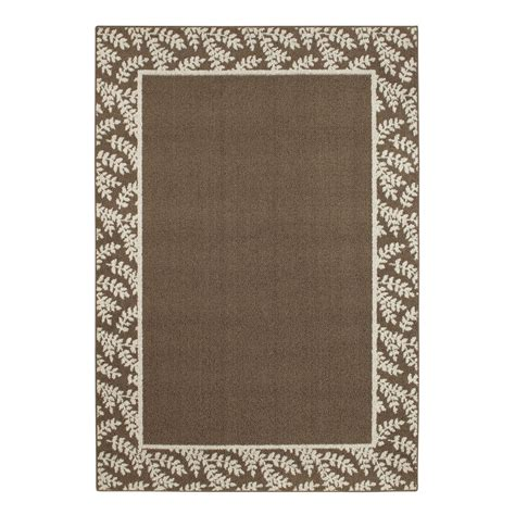 sesame area rug essential home border leaf brown suede sesame home home decor rugs area accent rugs