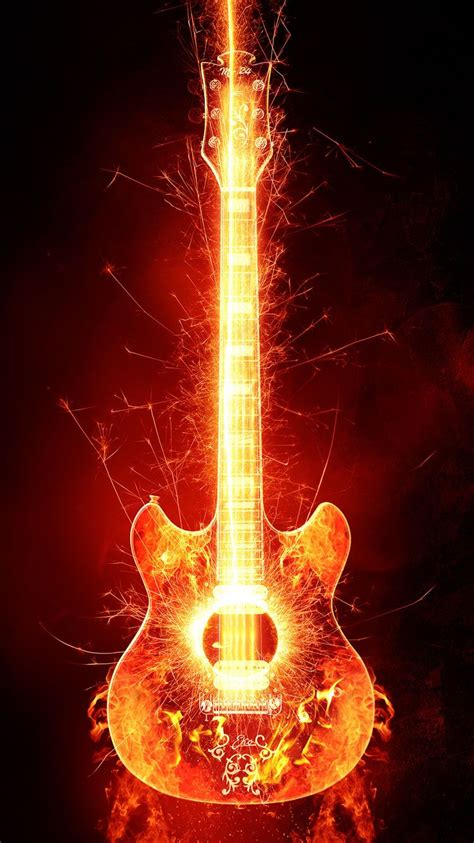 cool guitars  fire wallpapers   wallpaperbro
