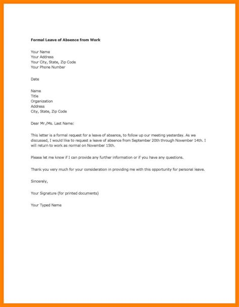 format application letter permission 11 permission letter to be absent address exle
