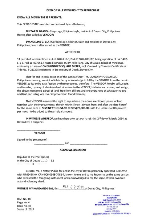 Transfer Letter Motorcycle Deed Of Sale With Right To Repurchase