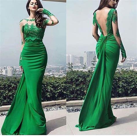 vestidos de gala largos verdes encaje pedreria elegantes juveniles vestidos de gala verdes