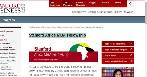 Stanford Africa Mba Fellowship Linkedin by Stanford Africa Mba Fellowship Scholarship