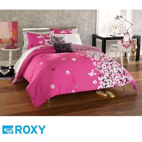 teen girl bed in a bag 9pc roxy muse teen girls hot pink gray black surf