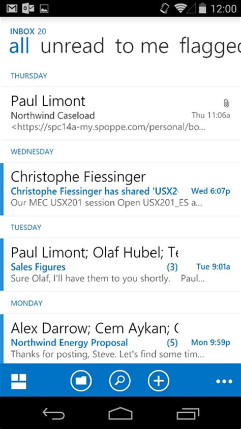 owa for android microsoft launches outlook app for android declutters your inbox pcworld