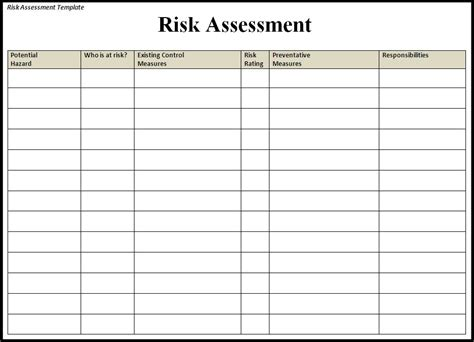 template for risk assessment risk assessment template free word templatesfree word