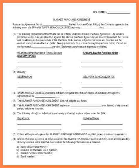 4 blanket purchase order agreement template purchase