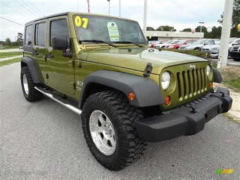 2007 Jeep Wrangler Green Jeep Green Metallic 2007 Jeep Wrangler Unlimited X