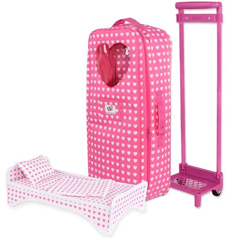 american girl doll travel bed doll travel carrier trolley with foldable bed and