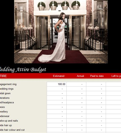 Wedding Attire Budget wedding attire budget my excel templates