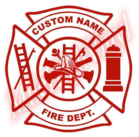 custom fire dept maltese cross vinyl decal sticker window
