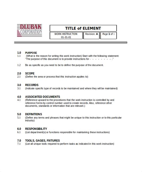 Work Manual Template writing templates 6 free word pdf document