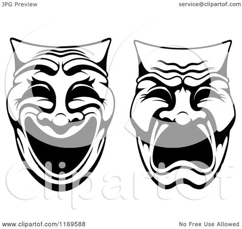 black and white drama clipart of black and white comedy drama theater masks