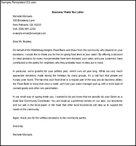 Thank You Letter For Donation From Business Sle Thank You Letter For Donation Of Goods Letter Templates And Thank You On