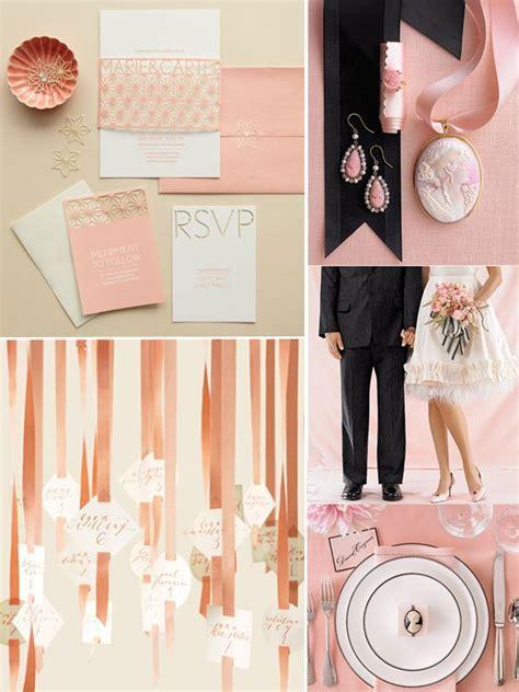 Black, peach and ivory wedding decor, flowers and wedding