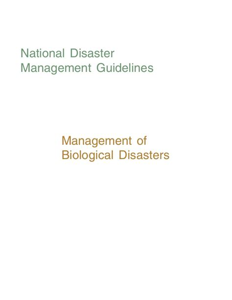 Mba In Disaster Management Syllabus by Management Of Biological Disasters Ndma Guidlines