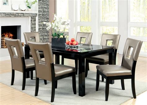 7 piece glass dining room set furniture of america marjesko 7 piece black glass top
