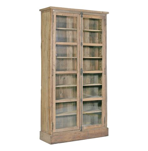 lorraine reclaimed wood country bookcase cabinet