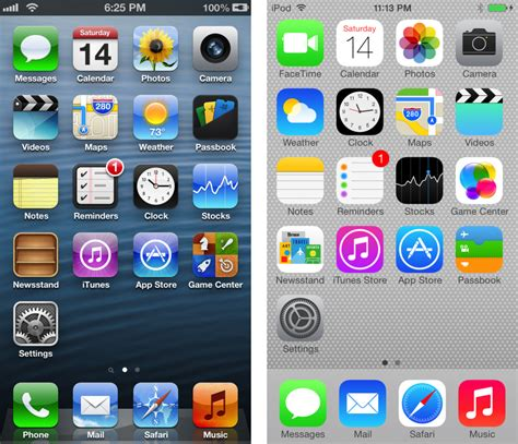 old iphone layout app death to textures ios 6 and ios 7 compared in pictures