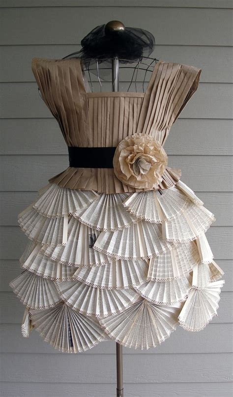 How To Make A Dress Out Of Paper - paper dress made from book pages and packaging