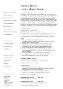 Logistics Manager Resume by Logistics Manager Cv Template Exle Description Supply Chain Manager Delivery Of Goods C