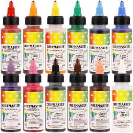 chefmaster food coloring chefmaster airbrush food coloring set 12 popular colors