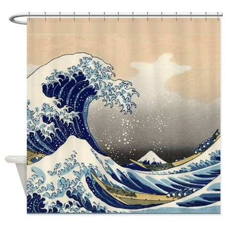 japanese shower curtains japanese tsunami wave shower curtain by thehomeshop