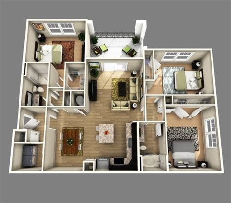 best 3d open floor plan 3 bedroom 2 bathroom search