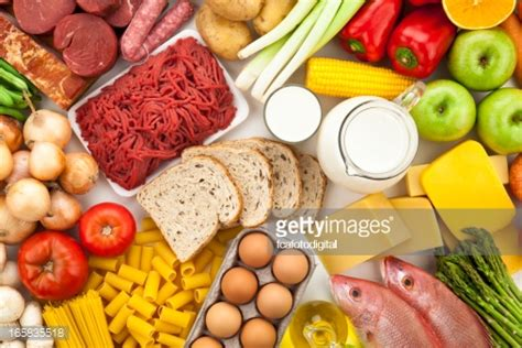 The Types Of Products Purchase Using Only An Search Are Typically Table Filled With Different Types Of Foods Directly Above Stock Photo Getty Images
