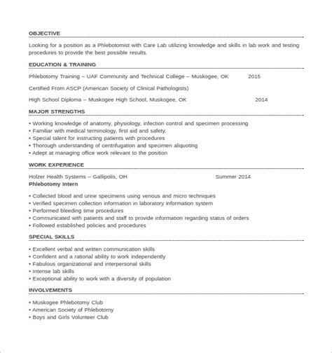 Entry Level Resume Exles by Entry Level Phlebotomy Resume Exles 28 Images 10 Free