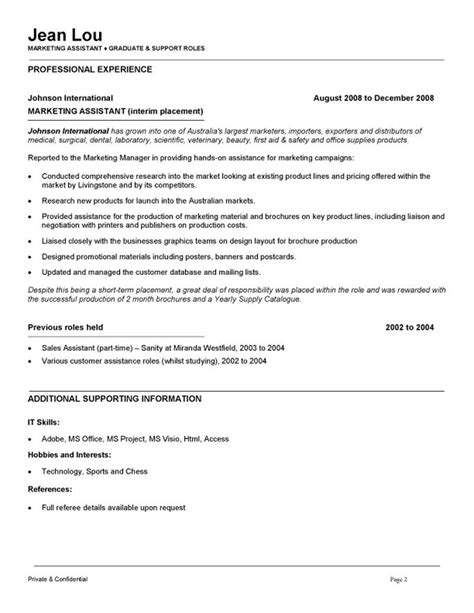 Marketing Assistant Sle Resume by Marketing Assistant Resume