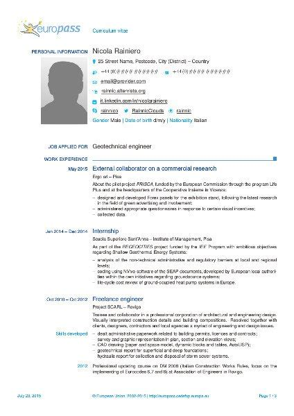 Best Font In Resume by Un Altro Template In Latex Per L Europass Cv 2013 Rainnic In The Clouds
